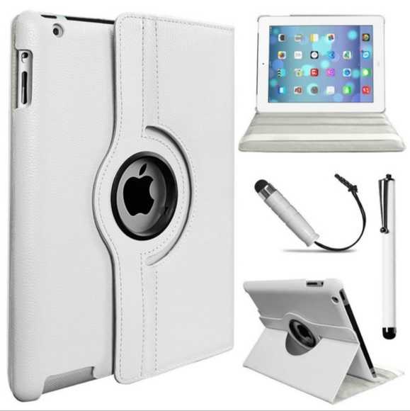 White PU leather Stand Case for iPad 3